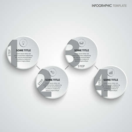 Info graphic with round pointers in gray white design vector eps 10