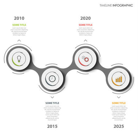 Time line info graphic with atypical pointers on white background vector eps 10