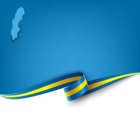 Document with ribbon and map the Kingdom of Sweden template vector eps 10