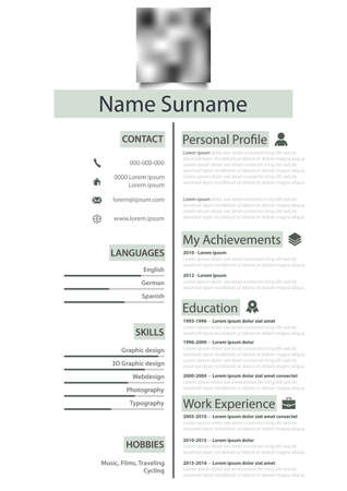 Professional personal resume cv with green highlight in white design eps 10 Vector Illustratie