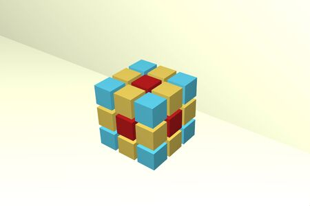 finer: Figure of the cube consisting of finer identical cubes of the smaller size and different colors. Stock Photo
