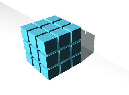 finer: Figure of the cube consisting of finer identical cubes of the smaller size