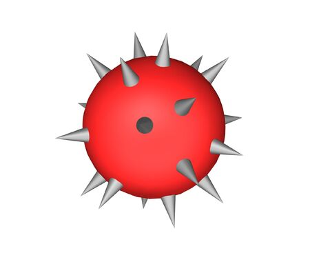 prickle: The dangerous prickle consisting of a sphere of red color and grey thorns