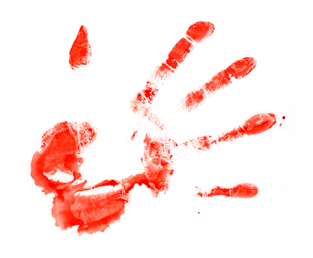 bloody hand print: The bloody print by a hand of the person. The image is isolated and placed on a white background.