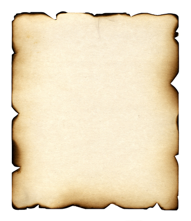 scorching: The burnt sheet of the old paper which burnt out under beams of the scorching sun and has turned yellow from time. The photo is isolated on a white background. Stock Photo