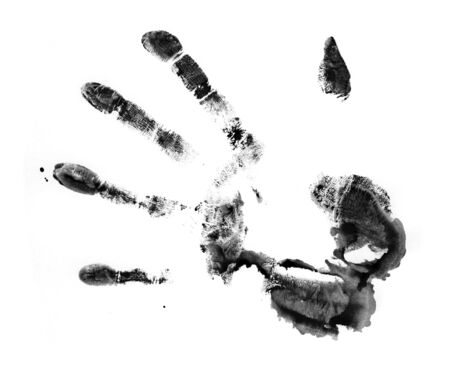 The dirty print by a hand of the person. The image is isolated and placed on a white background. Stock Photo - 1599538