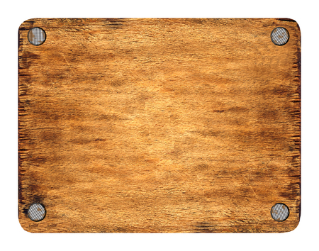 The wooden tablet nailed up on corners. The image is isolated and placed on a white background. The picture is convenient for using in a composition with the added layers. Stock Photo