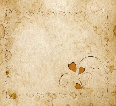 Sheet of an old paper with the framework drawn on him consisting of set of hearts