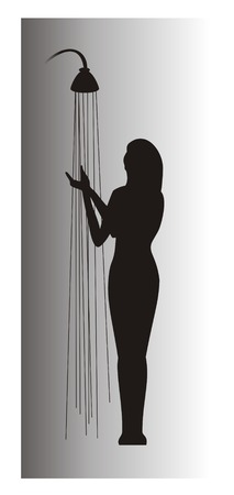 Figure of the girl washing under a shower, executed in the form of a silhouette in black-and-white tones Stock Photo
