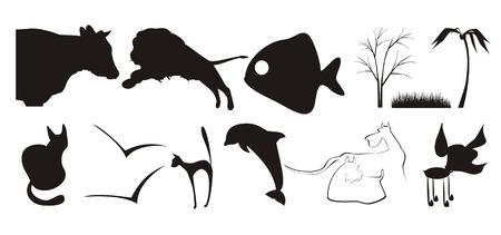 lion wings: La cifra que contiene algunos de siluetas de diferentes animales y plantas. La imagen es ejecutado por el color negro sobre fondo blanco
