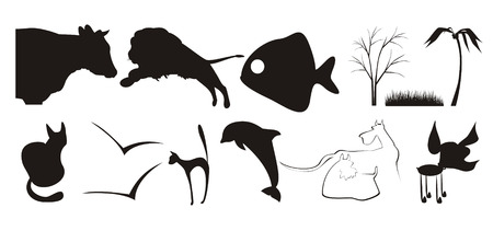 outline drawing of fish: The figure containing of some silhouettes of different animals and plants. The image is executed by black color on a white background Illustration