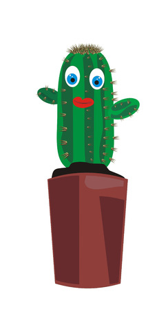 The image of a cactus in a pot, drawn in animated style. The plant has eyes and a mouth. It can be used as the character or a part of a collage and a composition Vector