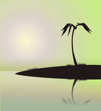 bask: Illustration of a palm tree on the island, reflected in water. The image in the form of a black silhouette on a blue background. It can be used as a background or a composition