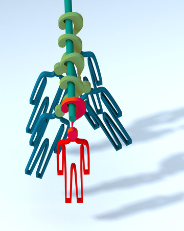 dangle: The person in a condition of indecision and uncertainty. 3D illustration. Stock Photo