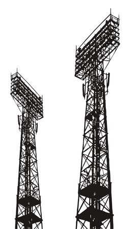 Figure with the image of a high mast with numerous projectors of illumination. Usually such designs cost in stadiums.