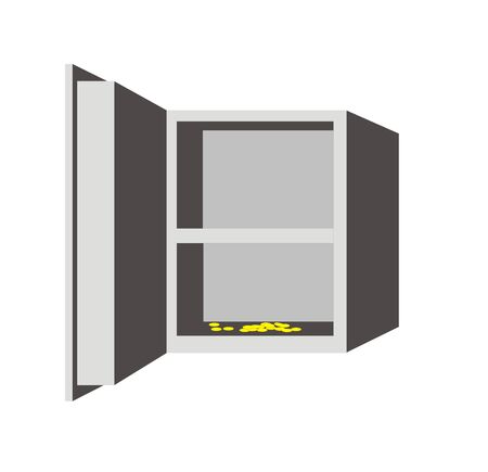 The figure representing the open metal safe, filled by money. Figure can be used as a part of a collage or a separate illustration Stock Vector - 1612227