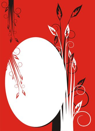 The figure representing an oval framework on a red background, decorated by flowers and a pattern of black and white color Stock Vector - 1612235