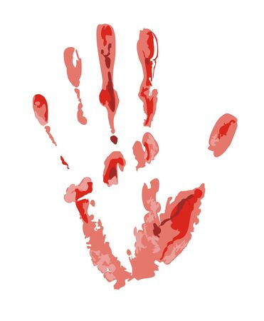 bloody hand print: The bloody print left by a hand of the person. The image is isolated and placed on a white background.