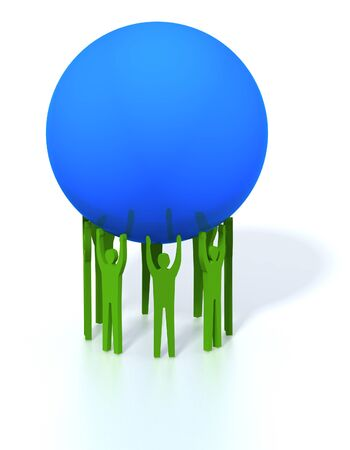 generality: Symbolical 3D an illustration with the image of people which amicably hold a huge blue sphere on the hands extended upwards