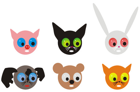 ridiculous: Some variations of ridiculous muzzles of animals. Each figure is isolated on a white background. Very amusing kind fantastic characters.