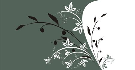 The figure representing a pattern from branches with foliage of two different kinds, on a white and dark grey background with a greenish shade Illustration