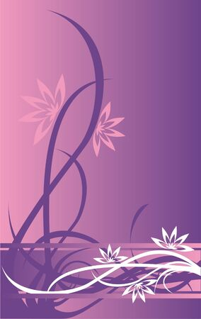The image of a difficult pattern in the form of strips, flowers and curls of white and lilac color on a pink and lilac background