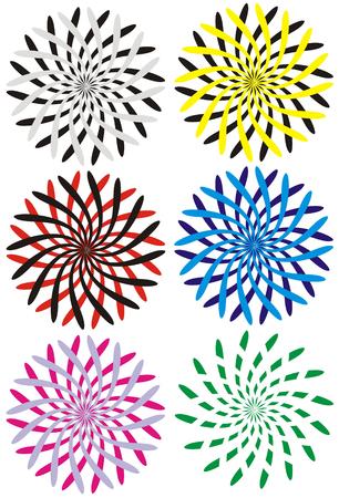 twirled: La cifra che rappresenta sei varianti di colore multi-ipnotico cerchi in forma di colpi twirled nelle diverse parti su sfondo bianco  Vettoriali