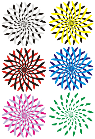 twirled: The figure representing six variants of multi-coloured hypnotic circles in the form of strokes twirled in the different sides on a white background