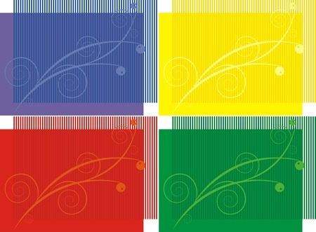 The figure representing four variants of a pattern on a background of different colors with strips of the same colors of other shade Illustration