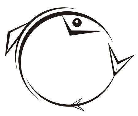 truchas: La cifra representa un modelo en negro estilo g�tico en forma de un pez, lleg� a la conclusi�n en un c�rculo, sobre un fondo blanco. Se puede utilizar como una marca, y una parte de su composici�n