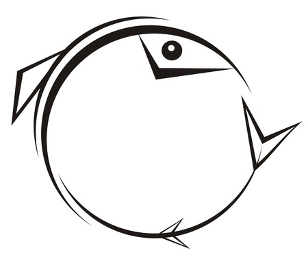 trout fishing: The figure representing a black pattern in Gothic style in the form of a fish, concluded in a circle, on a white background. It can be used as a trade mark, a  and a part of your composition Illustration