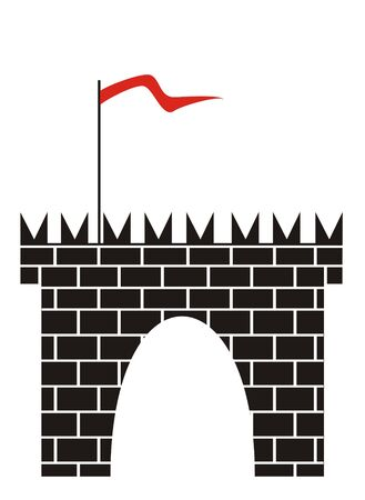 forts: The figure representing a tower with a gate from a black brick with a red flag on a staff. Figure is located separately on a white background