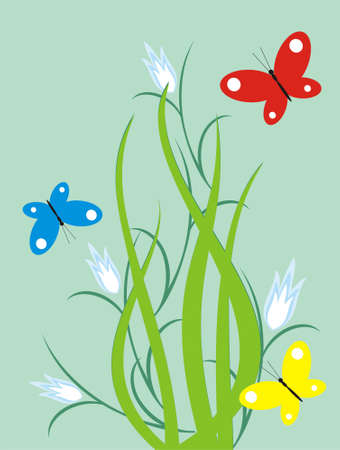 The figure representing of three butterflies, flying above flowers of white-blue color on a background of green foliage Stock Vector - 1640754