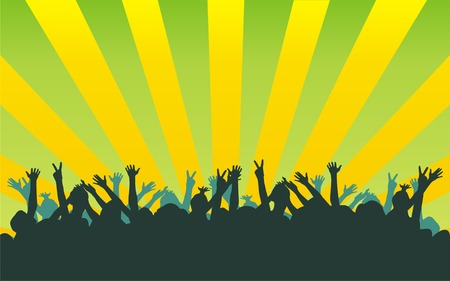The figure representing black silhouettes of dancing people on a green background with yellow strips Vector