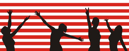 Figure of female silhouettes of black color on a background of the red and white strips simulating a flag of America Vector