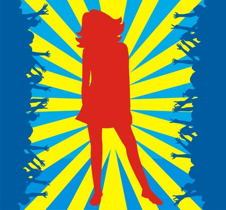 Red silhouette of the girl on a blue background with yellow strips in an environment of dark blue silhouettes of people  Vector