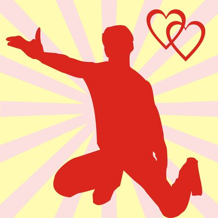 The red silhouette of the man, costing on a knee and offering to marry on a yellow background with pink strips. In a corner two hearts are drawn Vector