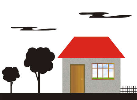 mine site: Figure of the house with a window on a white background with black silhouettes of trees and clouds. In a window inside of the house a kind of a green meadow and the present blue sky with clouds