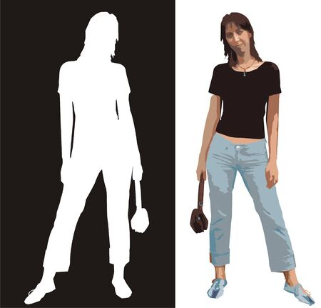 La figura de la mujer joven con una bolsa en una mano, en azul y un jeans negro T-corto, y una silueta de esta mujer de color blanco sobre fondo negro  Foto de archivo - 1641114