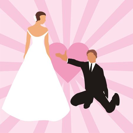 The figure representing the groom and the bride on a background of pink heart and strips of pink color Vector