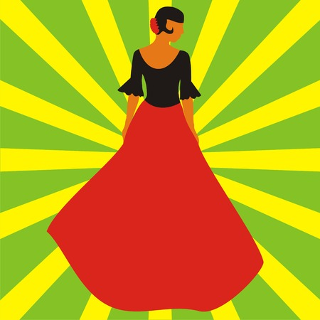 spanish culture: Figure of the Spanish woman in a long red skirt on a green background with yellow strips