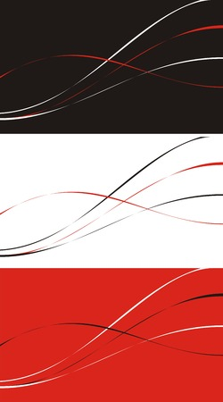Three variants of a background with a pattern in the form of curves of black, red and white color