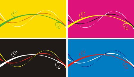 rosa negra: Cuatro variantes de un fondo: amarillo, rosa, negro y de color azul con un patr�n de bandas de rizos y de diferentes colores