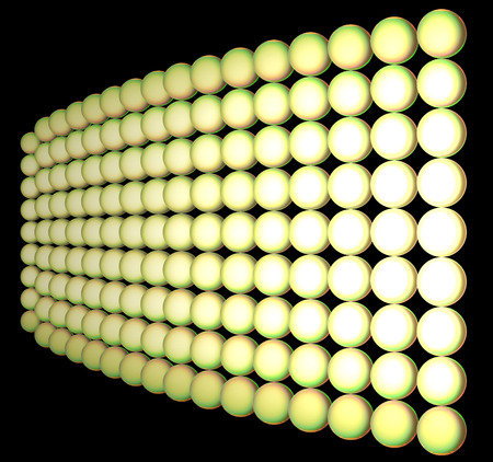 nonuniform: Set of spheres of yellow color are collected in a cloth. The cloth leaves in a distance. The matrix is illuminated is non-uniform. All figure is placed on a black background. Stock Photo