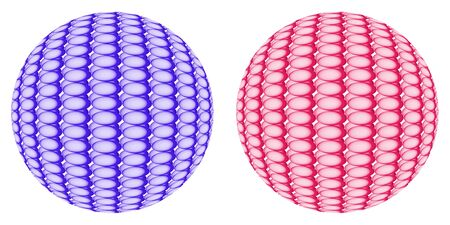 identical: Two spheres of different colors, each of which consists of set of fine identical components Stock Photo