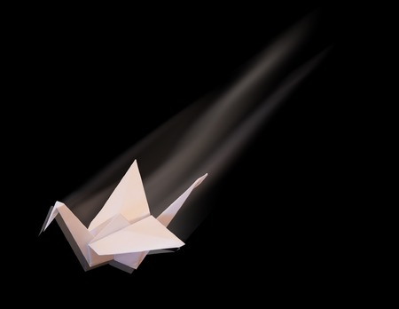 lea: The crane made lea a paper. The image is placed on a black background