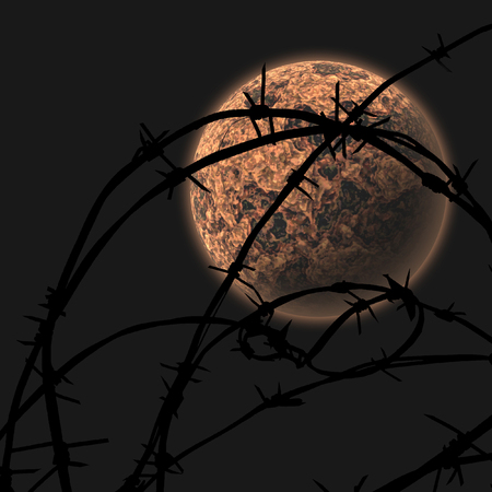 interdiction: On a background of the night sky the unknown planet through a protection from a barbed wire is well visible