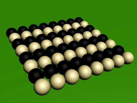 reminding: Set of spheres of two colors of one size on the green surface reminding a table for billiards