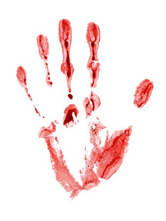 The bloody print left by a hand of the person. The image is isolated and placed on a white background. Stock Photo - 1655634
