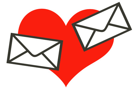 Two written envelopes are crossed in flight on a background of bright red heart. A background white